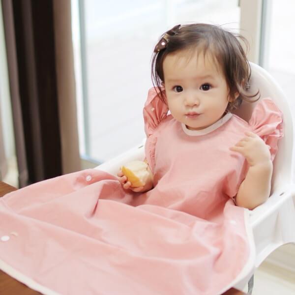 【離乳食エプロン・袖なしロング丈】離乳食初期の赤ちゃんから3歳まで使える洗える!おしゃれな男の子・女の子用の手作りセミオーダー食事用スタイ