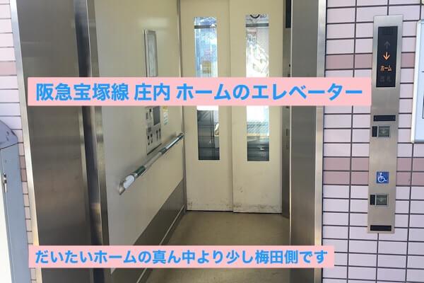 阪急宝塚線庄内駅ホームのエレベーター
