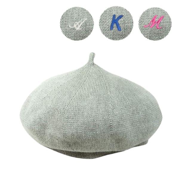 親子イニシャル刺繍ベレー帽