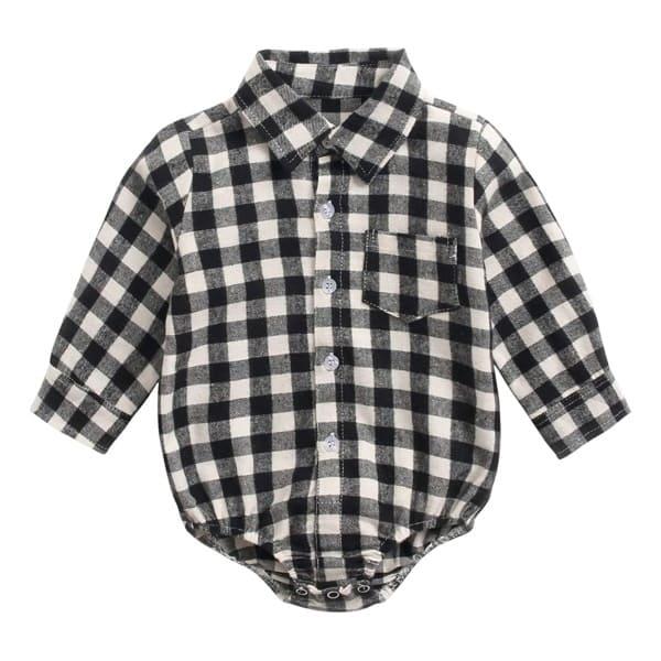 チェック襟付きシャツロンパース新生児~70・80・90サイズ