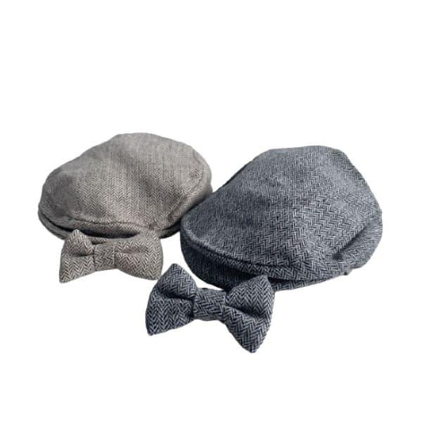 ニューボーンフォト セルフ(新生児写真)男の子【ハンチング帽子と蝶ネクタイ】
