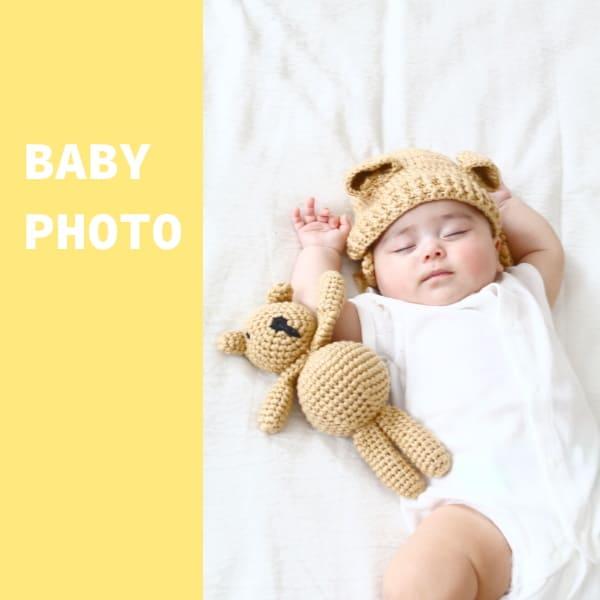 ニューボーンフォト セルフ(新生児写真)【くまさんとくま耳ニット帽子】