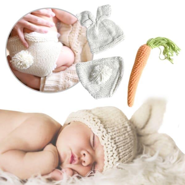 ニューボーンフォト セルフ(新生児写真)【うさぎとにんじん】